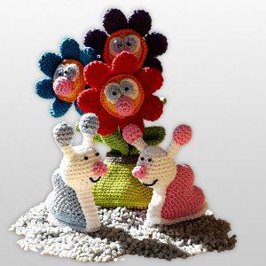 Lustige Blumen und Herzschnecke