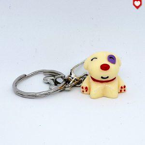 Schlüsselanhänger Hund beige