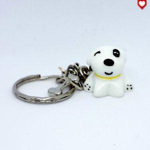 Schlüsselanhänger Hund weiss