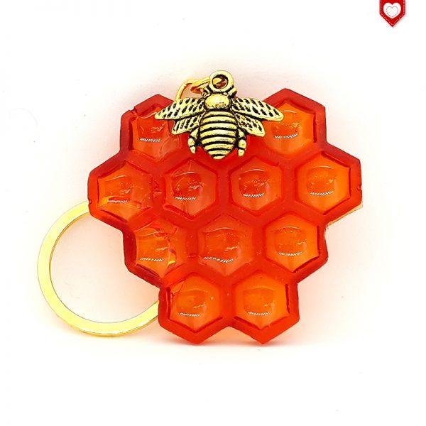 Honigwabe mit Biene Anhänger