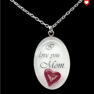 "Kette ""I love you Mom."" mit Quilling-Herz"